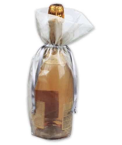 "Silver Sheer Organza Wine Bags, 6 1/2 x 15"""