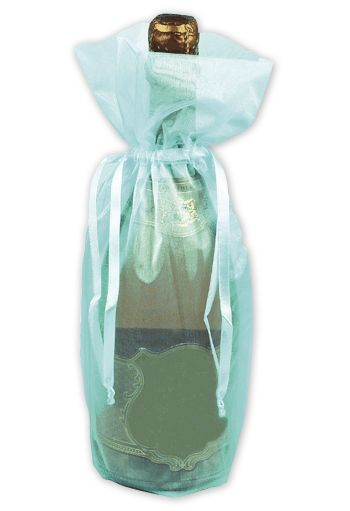 Turquoise Sheer Organza Wine Bags, 6 1/2 x 15