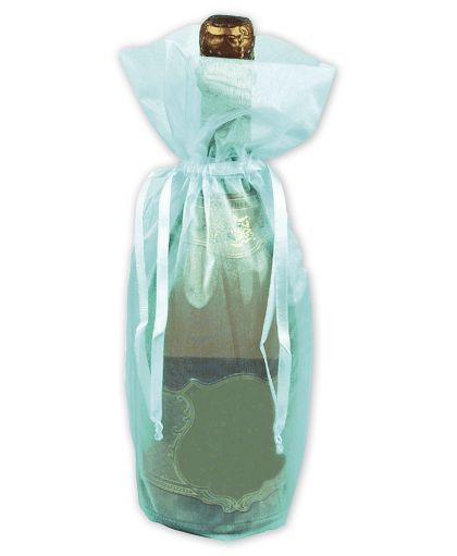 Turquoise Sheer Organza Wine Bags, 6 1/2 x 15""