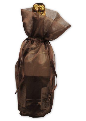 Chocolate Sheer Organza Wine Bags, 6 1/2 x 15