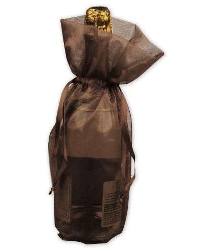 "Chocolate Sheer Organza Wine Bags, 6 1/2 x 15"""