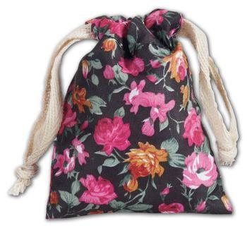 Black Vintage Floral Print Bags, 3 x 4