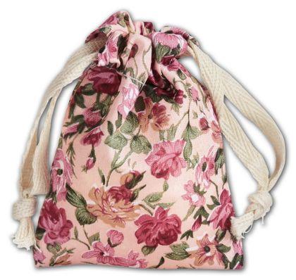 "Cream Vintage Floral Print Bags, 3 x 4"""
