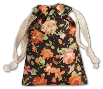 """Brown Vintage Floral Print Bags, 3 x 4"""""""