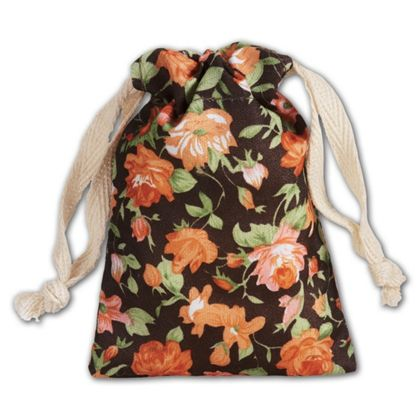 Brown Vintage Floral Print Bags, 3 x 4