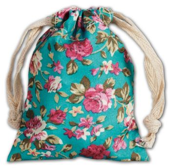Blue Vintage Floral Print Bags, 3 x 4