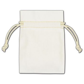 White Cotton Drawstring Bags, 3 x 4