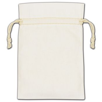 White Cotton Drawstring Bags, 4 x 6""