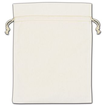 White Cotton Drawstring Bags, 8 x 10""