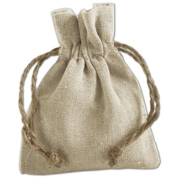 Tan Linen Cloth Bags, 3 x 4""