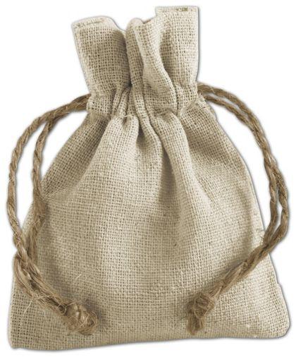 """Tan Linen Cloth Bags, 3 x 4"""""""