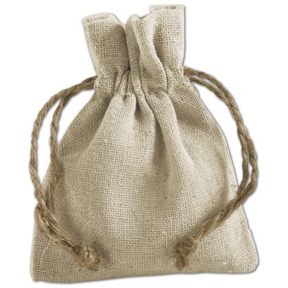 Tan Linen Cloth Bags, 3 x 4