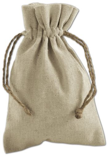 Tan Linen Cloth Bags, 4 x 6