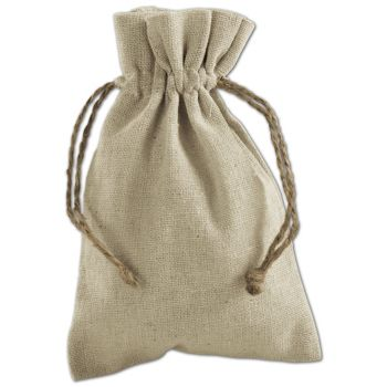 Tan Linen Cloth Bags, 4 x 6""