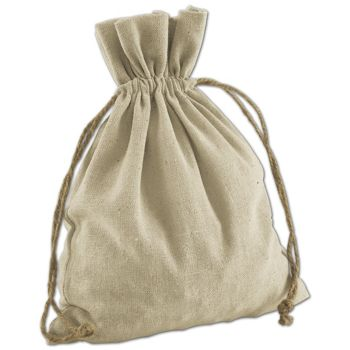Tan Linen Cloth Bags, 8 x 10""