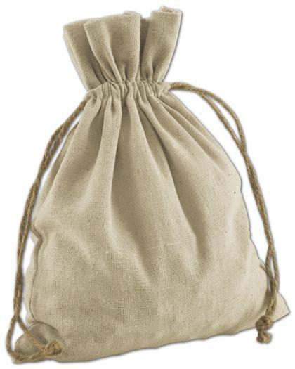 """Tan Linen Cloth Bags, 8 x 10"""""""