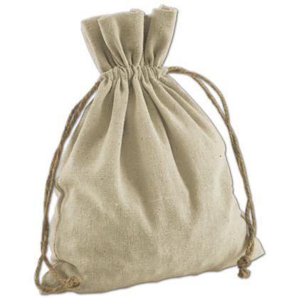 Tan Linen Cloth Bags, 8 x 10