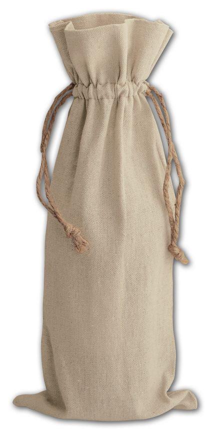 """Tan Linen Wine Bags, 6 x 14"""""""