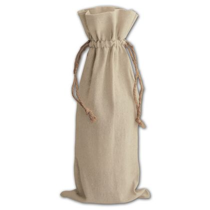 Tan Linen Wine Bags, 6 x 14