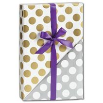 """Gold & Silver Dot Reversible Gift Wrap, 30"""" x 208'"""