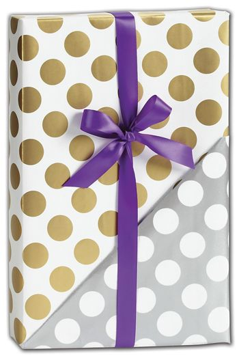 Gold & Silver Dot Reversible Gift Wrap, 30