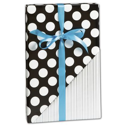 "Black & Silver Reversible Gift Wrap, 30"" x 417'"