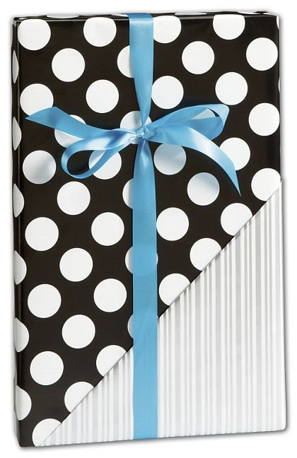 "Black & Silver Reversible Gift Wrap, 30"" x 208'"