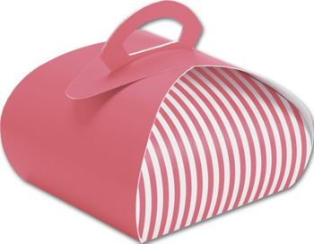 Pink with White Stripes Bake Away Carriers, 7 x 7 x 4