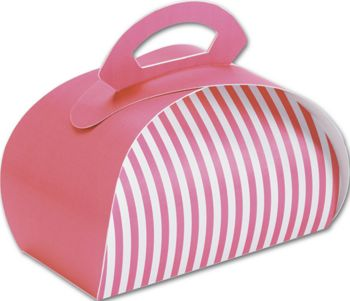 Pink with White Stripes Bake Away Carriers, 8 x 4 x 3 1/2
