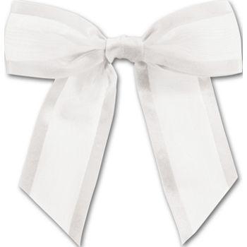 White Pre-Tied Organza Bow, 4 1/2