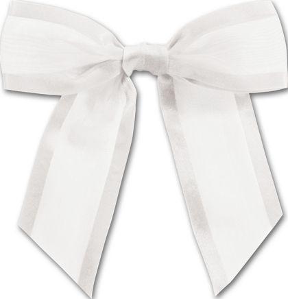 "White Pre-Tied Organza Bow, 4 1/2"" Bow Tie"