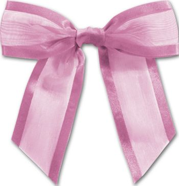 Hot Pink Pre-Tied Organza Bow, 4 1/2
