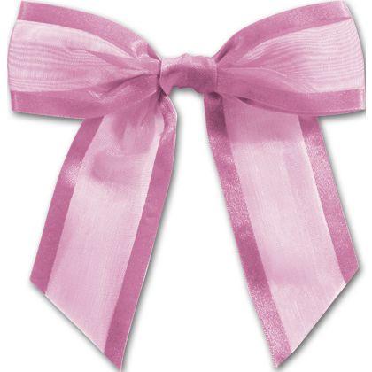 """Hot Pink Pre-Tied Organza Bow, 4 1/2"""" Bow Tie"""