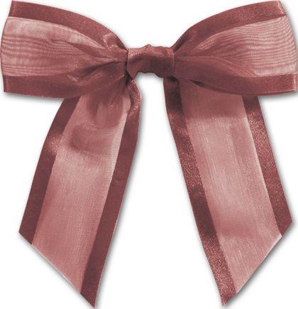 """Burgundy Pre-Tied Organza Bow, 4 1/2"""" Bow Tie"""