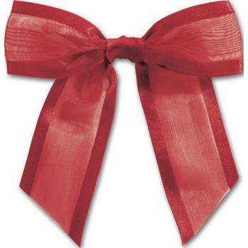 Red Pre-Tied Organza Bow, 4 1/2