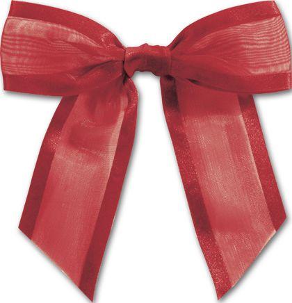 """Red Pre-Tied Organza Bow, 4 1/2"""" Bow Tie"""