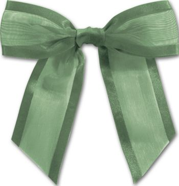 Hunter Green Pre-Tied Organza Bow, 4 1/2