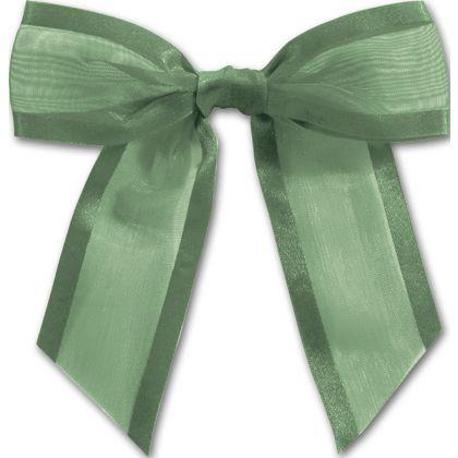 """Hunter Green Pre-Tied Organza Bow, 4 1/2"""" Bow Tie"""