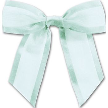Light Blue Pre-Tied Organza Bow, 4 1/2