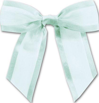 """Light Blue Pre-Tied Organza Bow, 4 1/2"""" Bow Tie"""