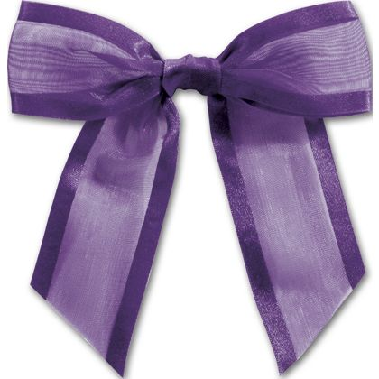 """Purple Pre-Tied Organza Bow, 4 1/2"""" Bow Tie"""