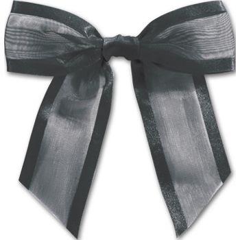 Black Pre-Tied Organza Bow, 4 1/2