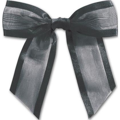 """Black Pre-Tied Organza Bow, 4 1/2"""" Bow Tie"""