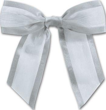 Silver Pre-Tied Organza Bow, 4 1/2