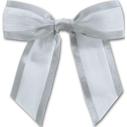 """Silver Pre-Tied Organza Bow, 4 1/2"""" Bow Tie"""