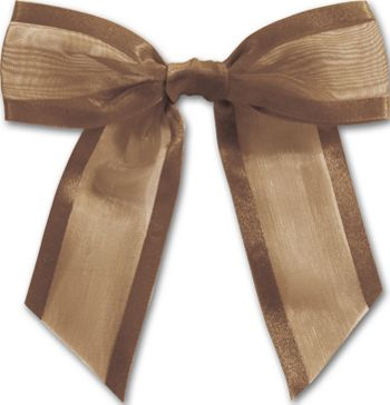 Chocolate Pre-Tied Organza Bow, 4 1/2