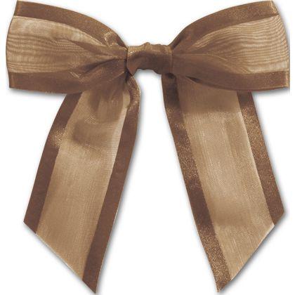 """Chocolate Pre-Tied Organza Bow, 4 1/2"""" Bow Tie"""