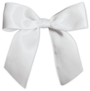 White Pre-Tied Satin Bows, 7/8