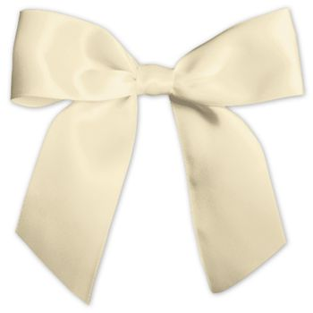 "Ivory Pre-Tied Satin Bows, 7/8"" Ribbon x 3"" Bow Width"