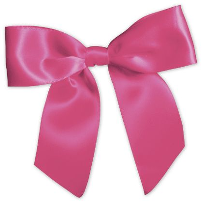 "Hot Pink Pre-Tied Satin Bows, 7/8"" Ribbon x 3"" Bow Width"